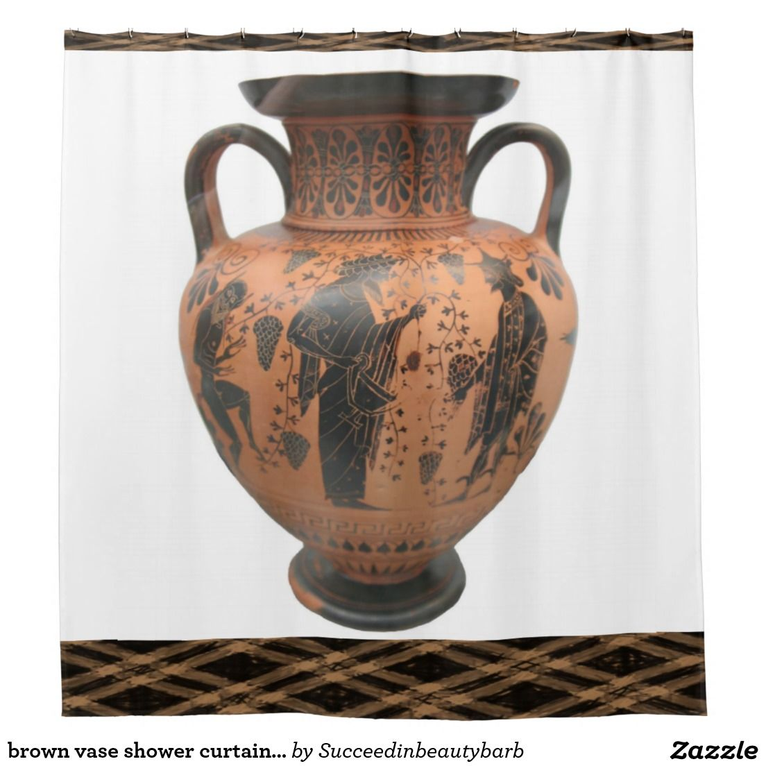 brown vase shower curtain pattern