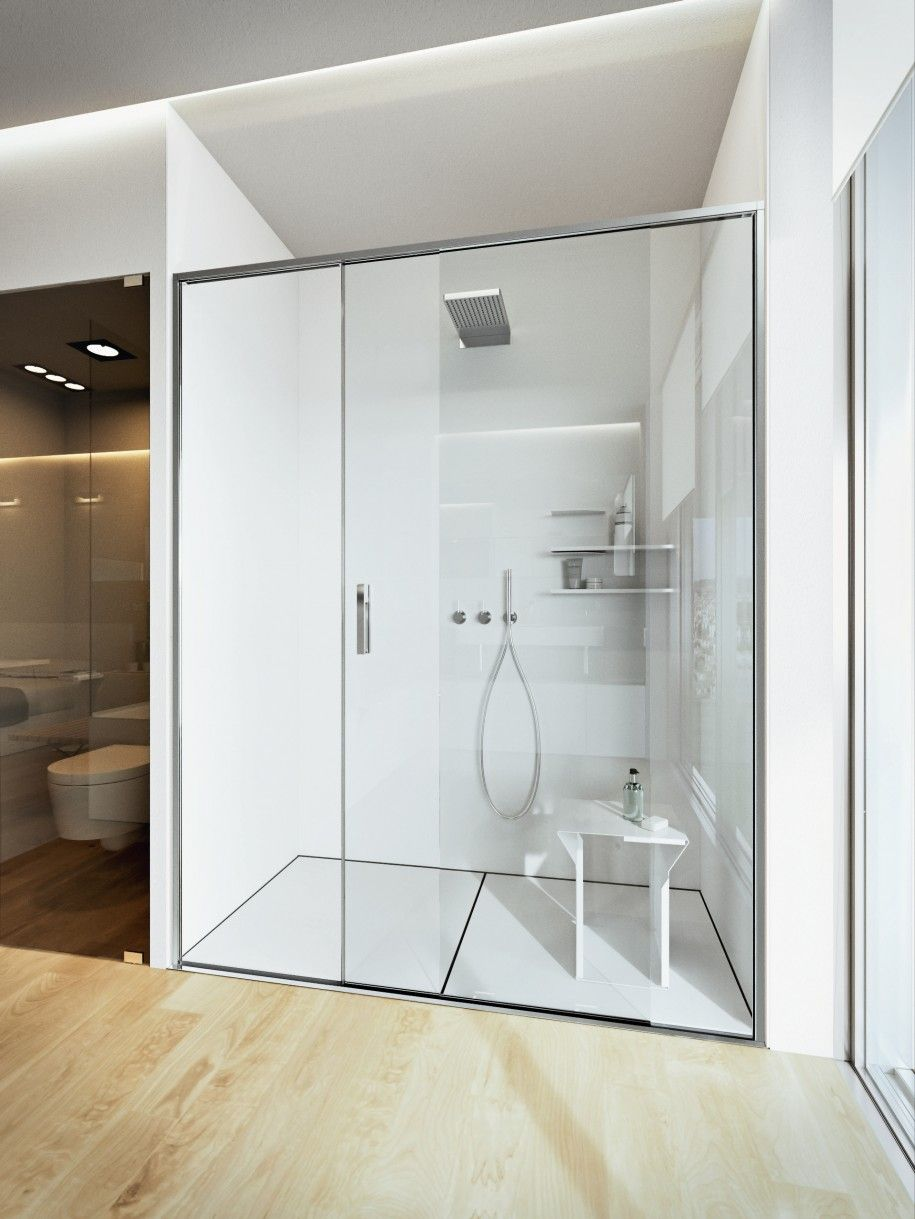 Elegant Open Shower Bathroom Design Ideas : White Luxury Open Shower  Bathroom Design Ideas