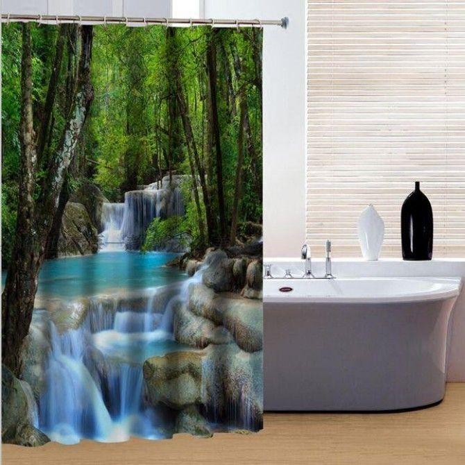 Waterfall Shower Curtain Bathroom Shower Curtains Bathroom