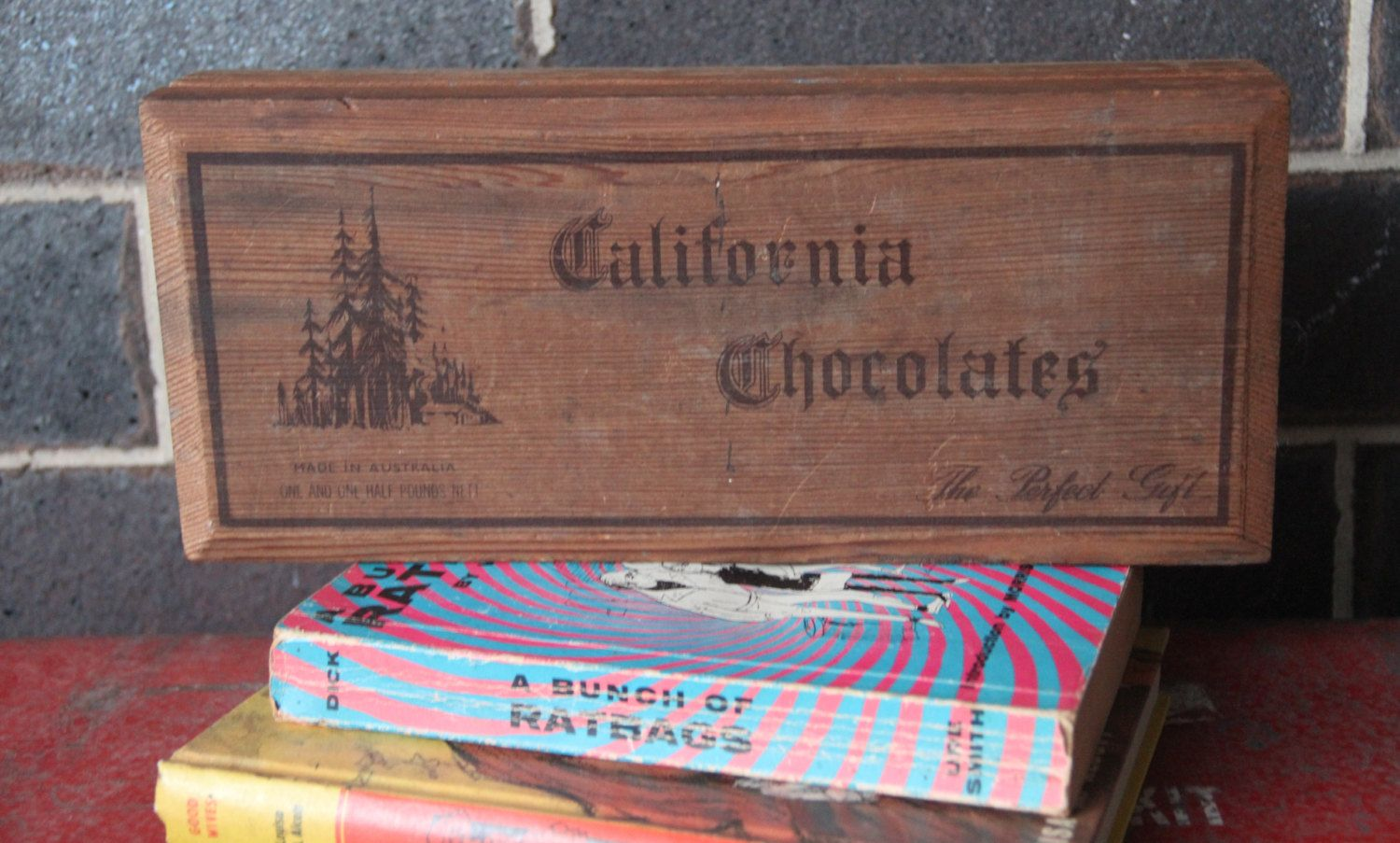 Vintage Wooden California Chocolate Box 1950s Made In Australia