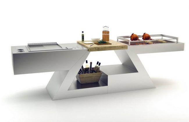 Designer Multifunktionstisch stauraum-grillplatte-kohlegrill-küche - outdoor küche edelstahl