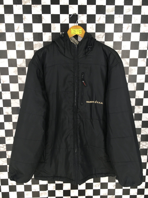 13101183995 Vintage BAD BOY Reversible Hoodie Jacket Unisex Large 90's Black/Gray  Sportswear Streetwear Hooded Windbreaker Zipper Jacket Size L by  JunkDeluxeRetro on ...