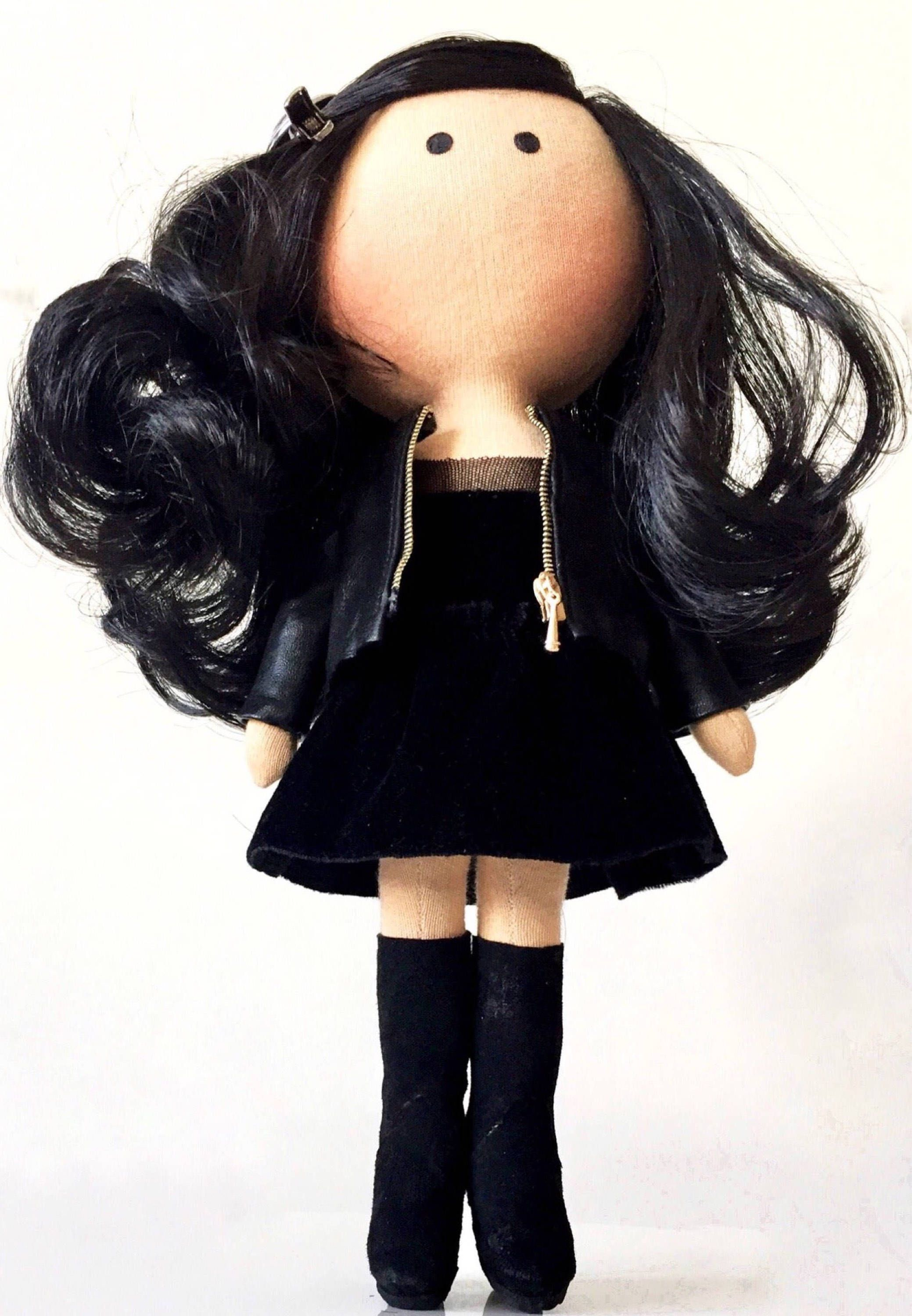 Goth girl Brunette handmade fabric doll Selfie portrait doll PDF pattern Soft textile Tilda doll Girlfriend gift Gift for her Art cloth doll #dollcare