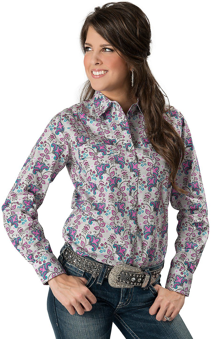 Cowgirl hardware women 39 s grey with purple turquoise for Women s turquoise long sleeve shirt