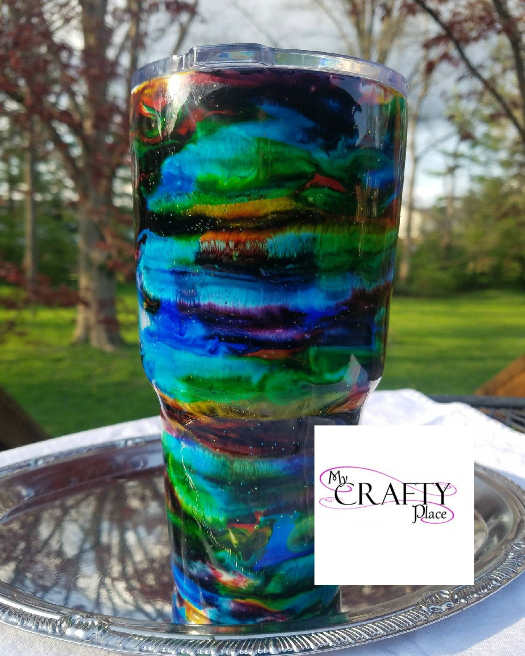 30 oz rainbow swirl painted tumbler alcohol ink tumbler
