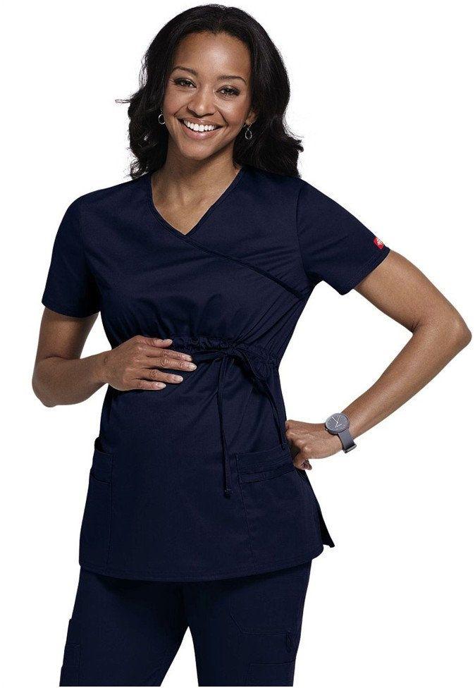 WonderWink Women/'s Maternity Stretch 6445 Mock Wrap Top