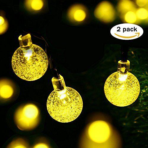easyDecor Guirlande lumineuse solaire 21ft 30 LED Boule de cristal