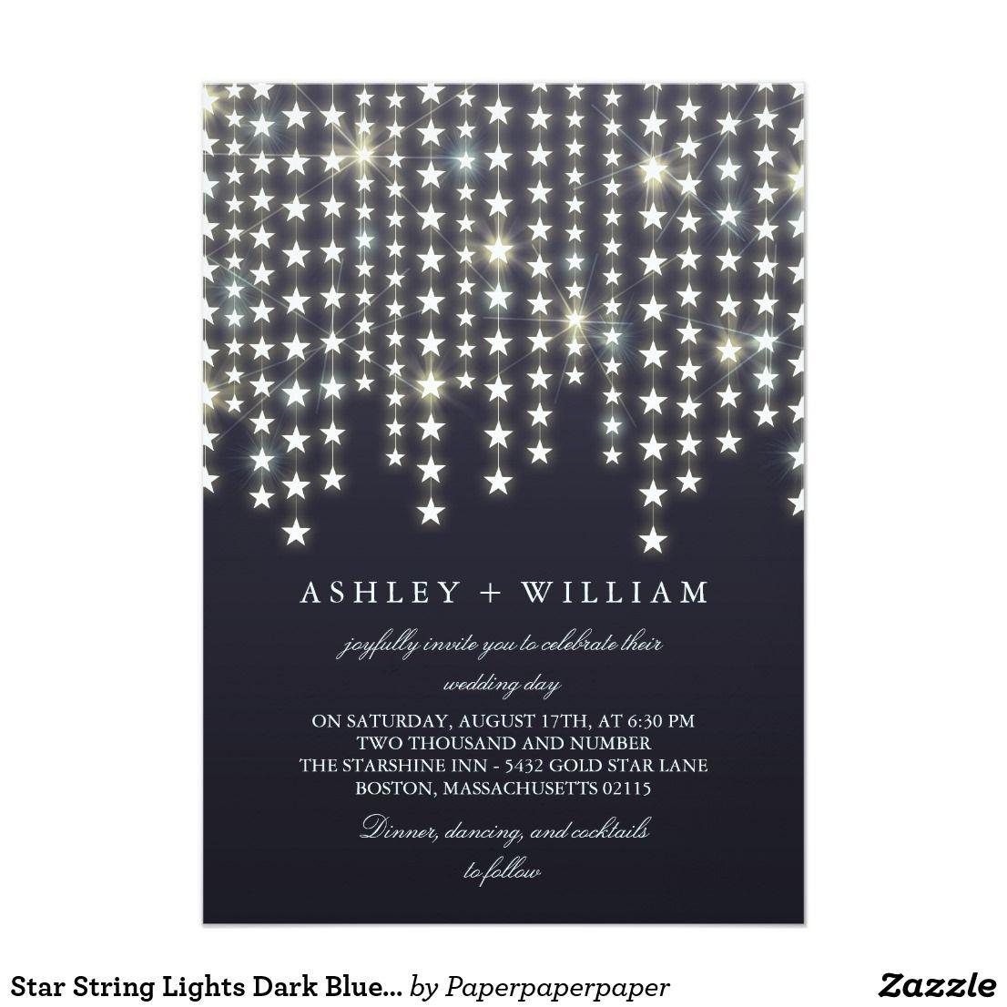 Beautiful dark blue wedding invitation with shining vertical hanging ...