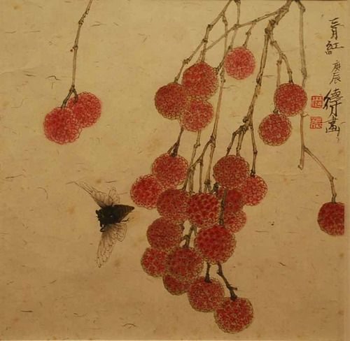 Litchis heavy on the branch by Lin Decai(林 德才 Chinese, b.1948)