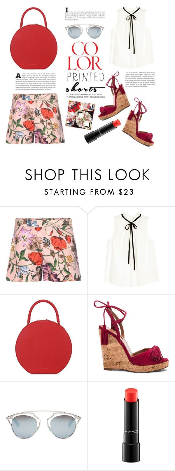 """Style with scarf #171"" by st-piece ❤ liked on Polyvore featuring Gucci, H&M, Mansur Gavriel, Aquazzura, Christian Dior and MAC Cosmetics"