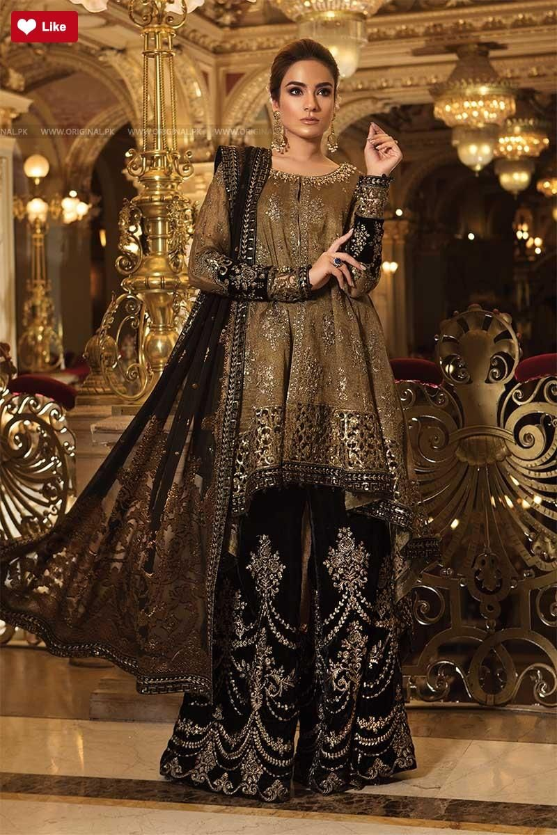 f208d9cd1e9 Maria B Wedding Edition Oxidized Gold   Black BD 1508 2018 Whatsapp   00923452355358  clothes  couture  dresses  gulahmed  GulAhmedcontactnumber  ...