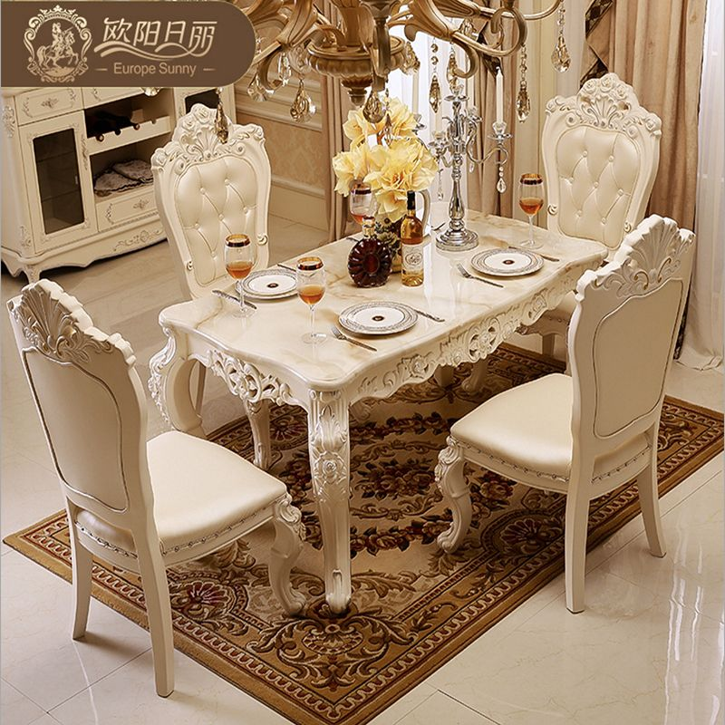 The marble dining table set ottoman chair dining room furniture by ...