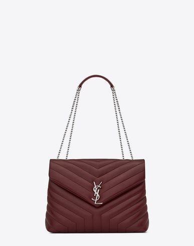 SAINT LAURENT Medium Loulou Chain Bag In Dark Red