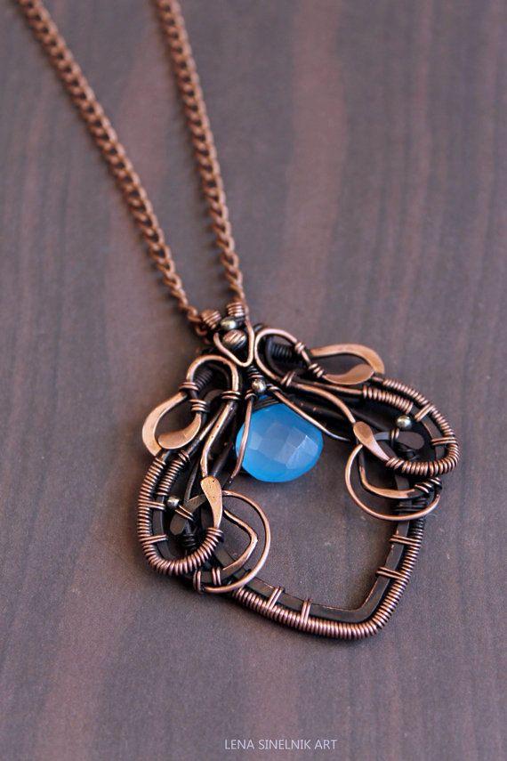7861ae2c27 Wirewrap pendant Wire jewelry chalcedony by LenaSinelnikArt Gioielli A  Pietra Di Luna, Filo Di Rame