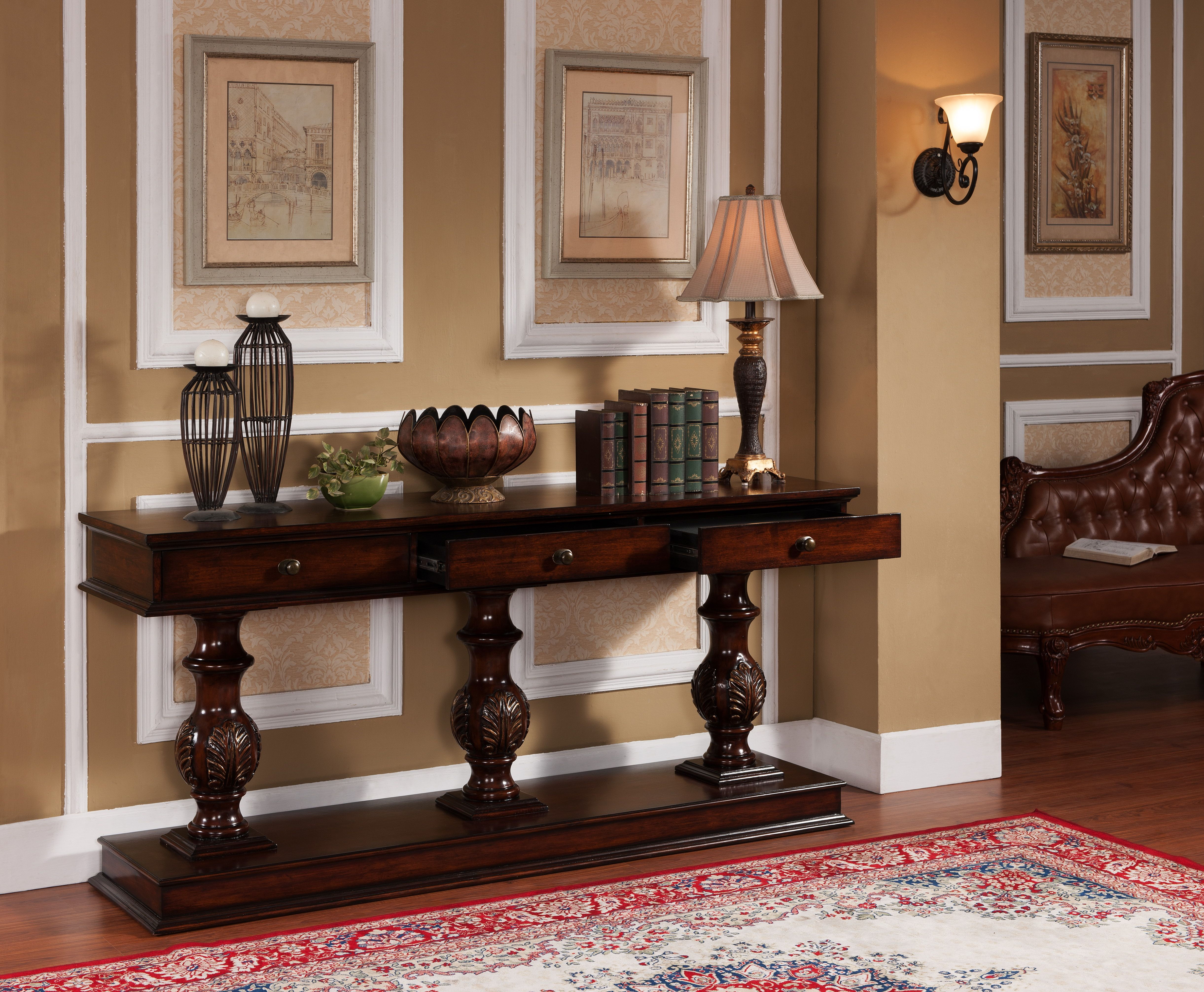 3 drawer console table Accent Pieces Pinterest