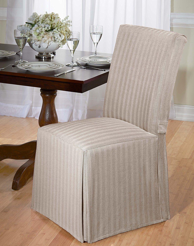 Luxurious Dining Chair Slipcover, Herringbone