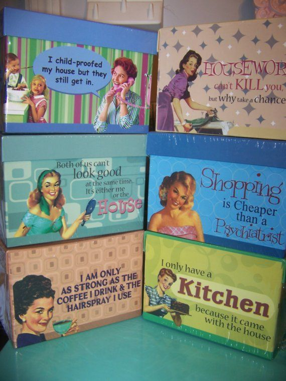 Retro Housewife Sassy Satire Recipe Box Funny Phrases Quotes