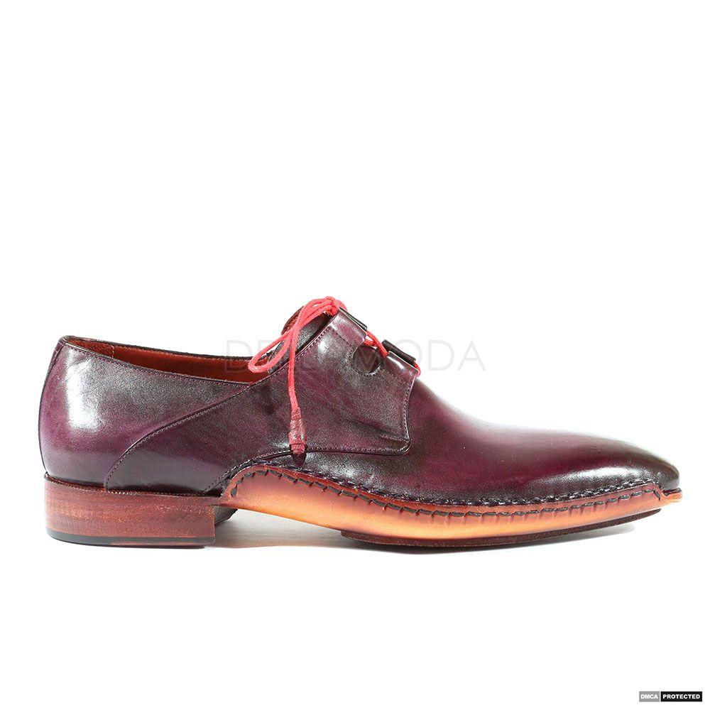 e2a1de2e271 Paul Parkman Handmade Mens Shoes Ghillie Lacing Dress Hand-Painted Purple  Oxfords (PM1016)
