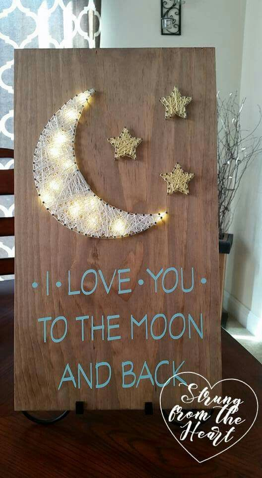 I Love You To The Moon And Back String Art Sign By Strung From The Heart String Art String Art Diy Art Diy