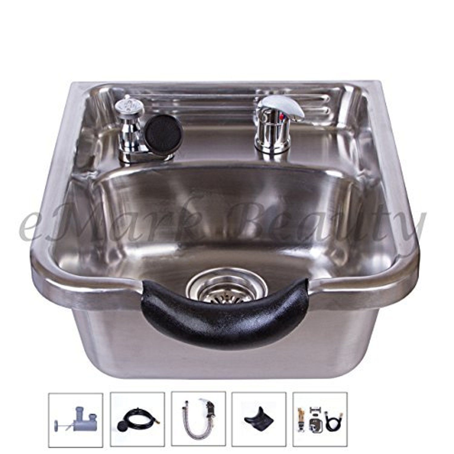 Stainless Steel Brushed Shampoo Bowl Salon Sink for Barber or Beauty ...