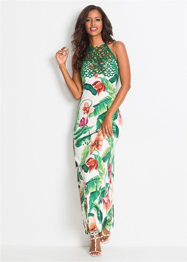 Sukienka W Kwiaty Bialo Zielony W Kwiaty Bonprix Sklep Tropical Maxi Dress Dresses Maxi Dress