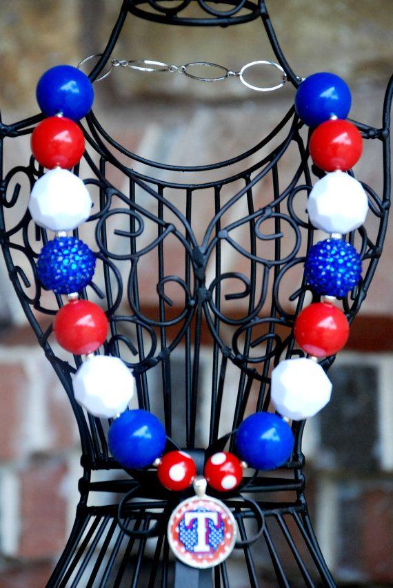 Texas Rangers Chunky Beaded Bubblegum Necklace by DazzledDarling, $25.00