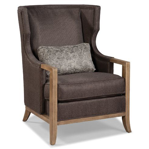 High Quality Fairfield Chair Wood Trimmed Transitional Wing Back Chair