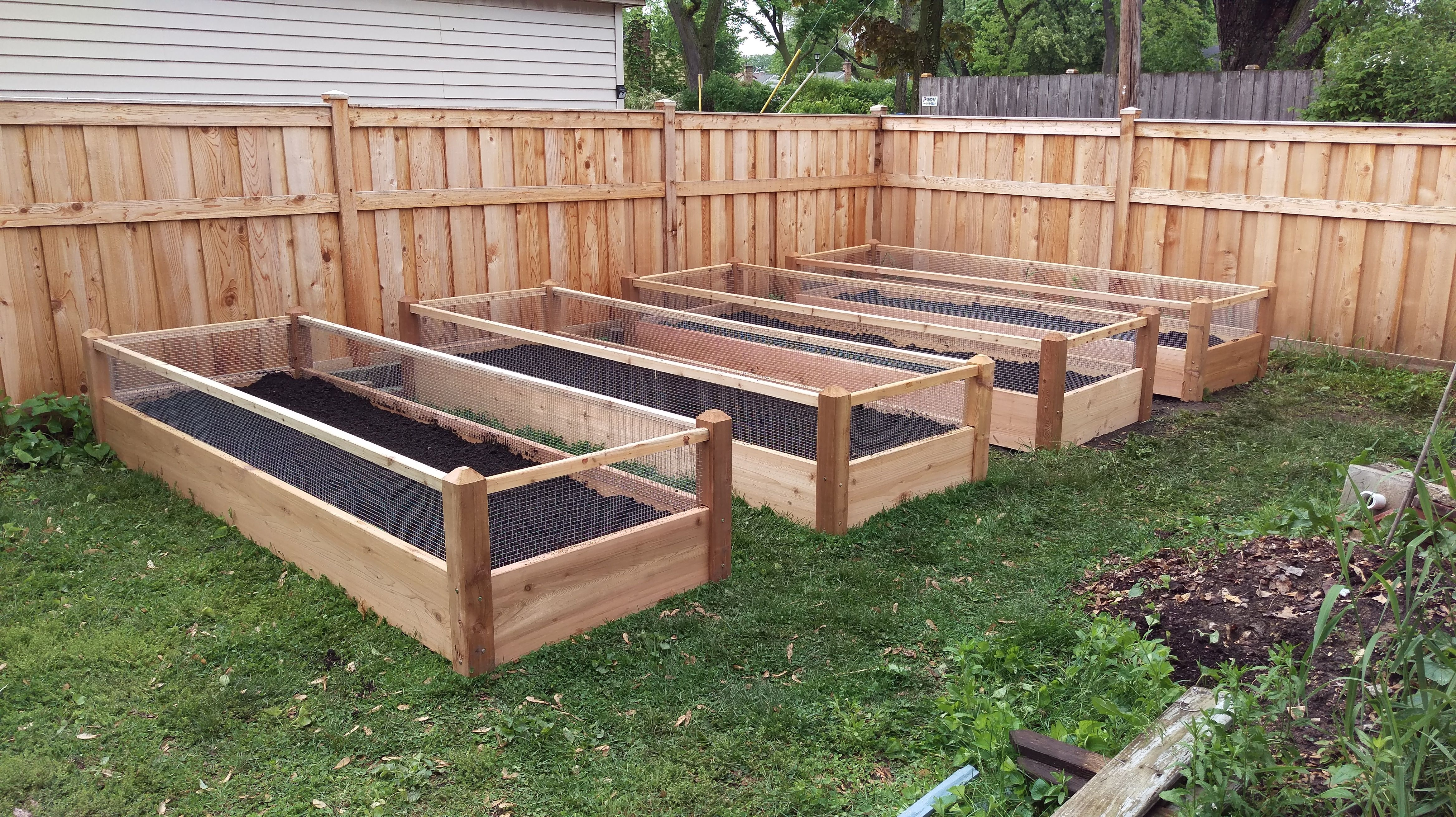 4 Four Raised Bed Gardens 3x8x2 With Images Raised Bed Garden