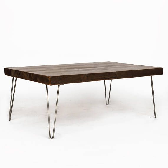 Mid Century Coffee Table Hairpin Coffee Table Custom Coffee Table Made With 2 5 Thick Reclaimed W Mid Century Coffee Table Modern Coffee Tables Reclaimed Wood Coffee Table