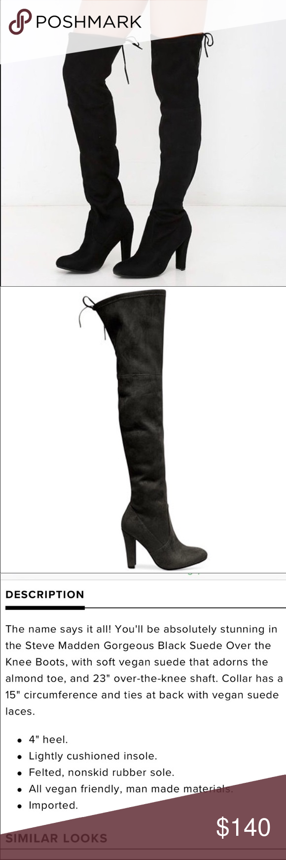 "90bbe95a70d Steve Madden ""Gorgeous"" Over the knee black boots Steve Madden ""Gorgeous""  Over the knee black heeled boots. Like brand new! Worn once! Size 6.5 M  Steve ..."