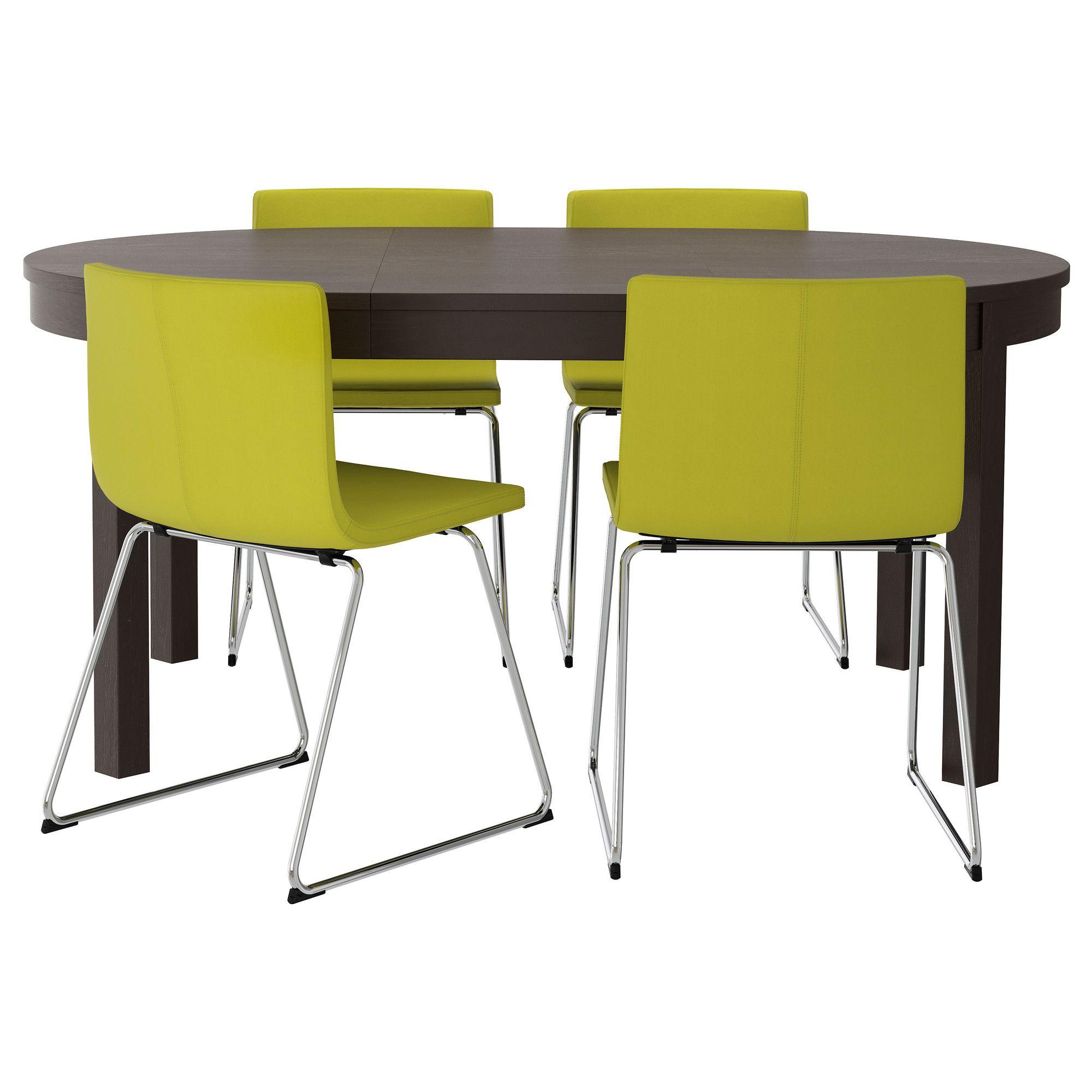 BJURSTA BERNHARD Table And 4 Chairs Brown Black Kavat Green Yellow