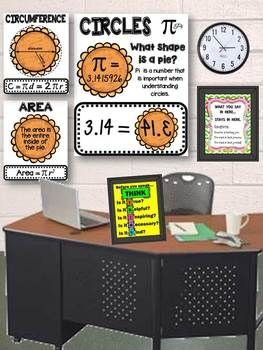 Area And Circumference Of A Circle Geometry Poster Set Math