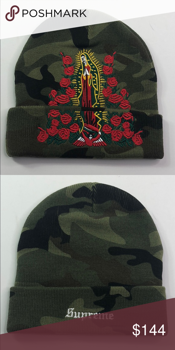 1b837b633ff SUPREME GUADALUPE BEANIE (CAMO) ACRYLIC CUFFED BEANIE WITH EMBROIDERY  GRAPHIC AND LOGO ON CUFF Supreme Accessories Hats