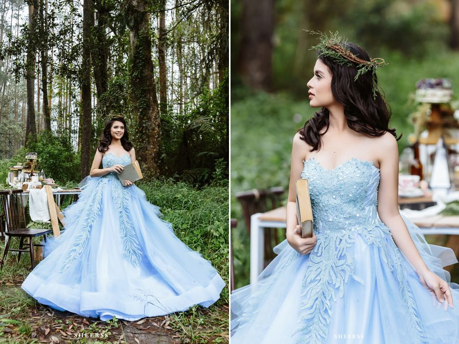This Alice In Wonderland Themed Bridal Session Featuring The Gorgeous Blue Gown Is Bursting With Enchantment