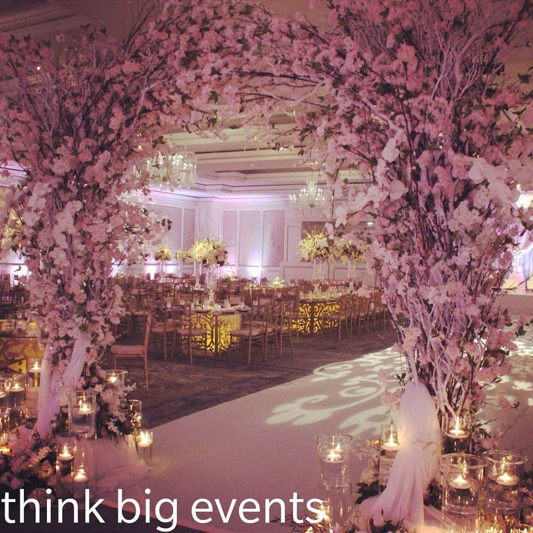 thinkbigevents #wedding #arch #flowers #flowerdecoration #lights # cherryblossom #e… | Wedding decorations, Church wedding decorations, Cherry  blossom wedding theme