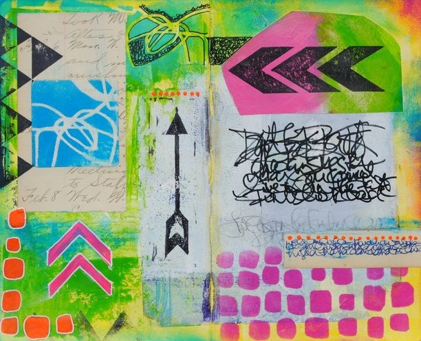 Mixed Media Art Journal page by Mary C. Nasser using stencils by StencilGirl.