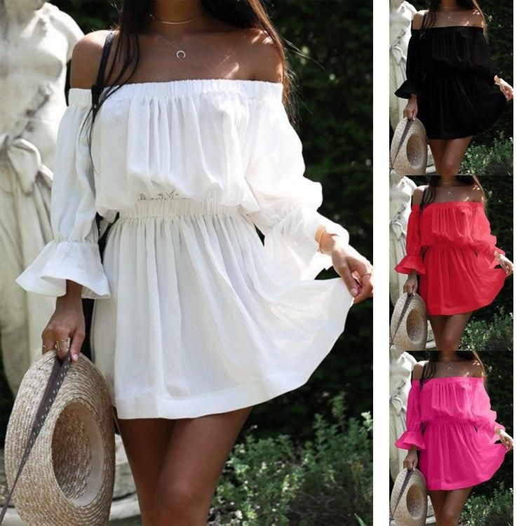 42c078b668b06 Women Summer Dress Fashion Slash Neck Shoulder Off Backless Flare Sleeves  Solid Color Sexy Dress for Female