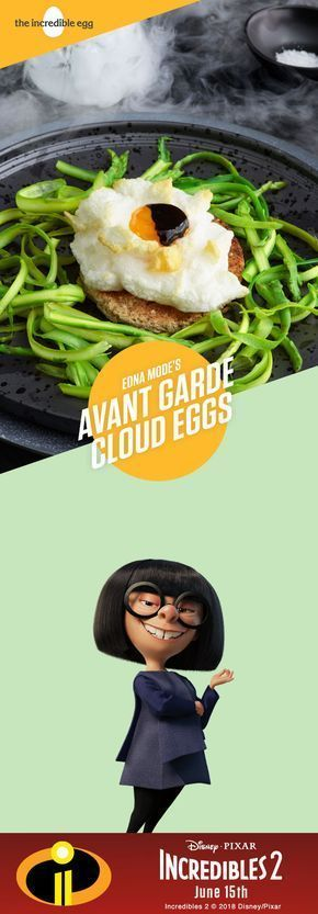 Eclipsed Cloud Eggs #cloudeggs If you really want to impress at your Incredibles party, try Edna Mode's fashion-forward baked eggs recipe. This dish will surely be the envy of everyone in attendance. It's the only cloud eggs and asparagus recipe to have ever starred in its own runway show. And just last month, this cloud eggs dish graced the cover of Egged Magazine. How do you like your eggs? #cloud Eggs #cloudeggs