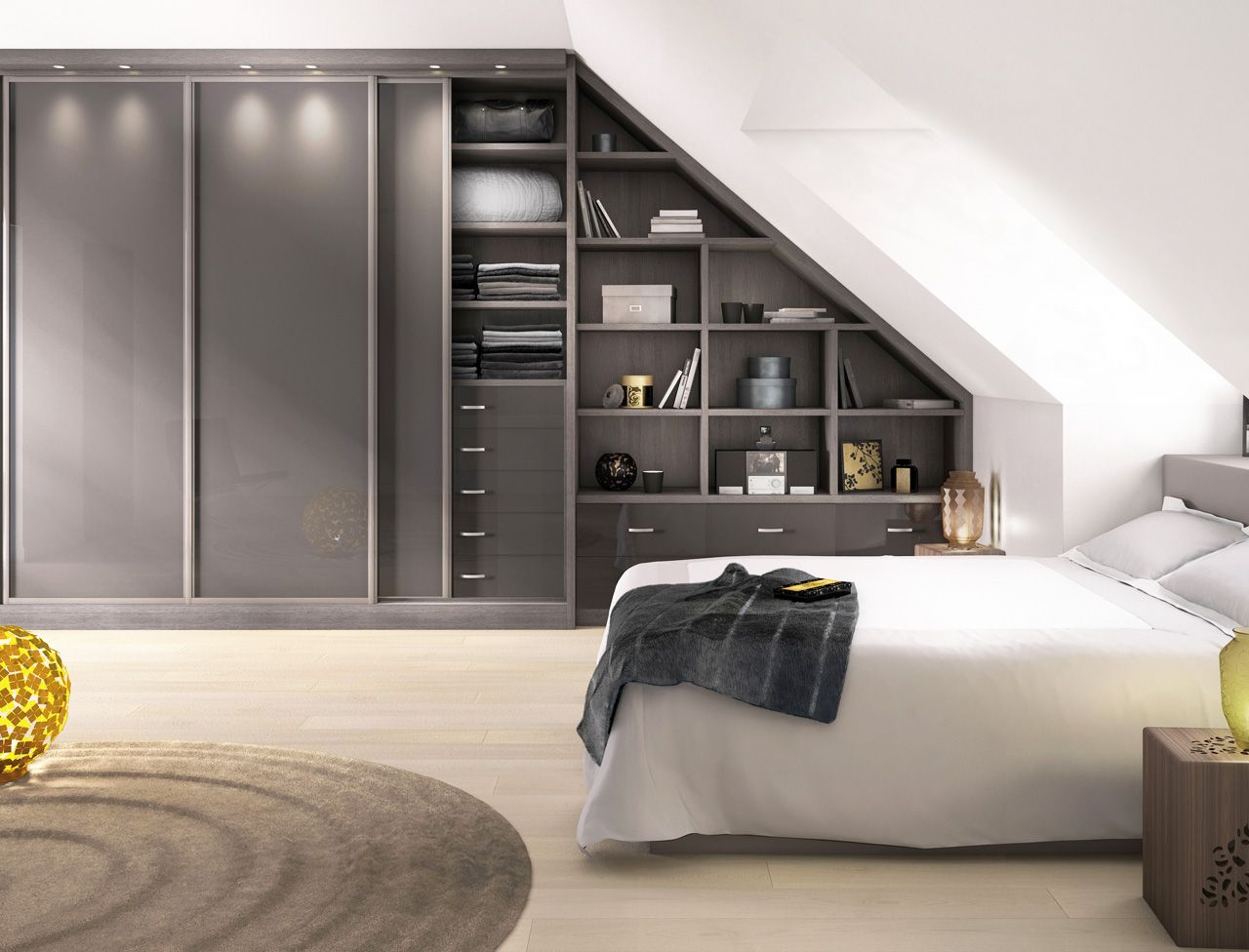 etag res et placards coulissants sur mesure sous les combles combles pinterest placard. Black Bedroom Furniture Sets. Home Design Ideas