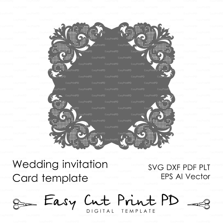 Wedding invitation digital Pattern Card Template Lace folds | Cameo ...
