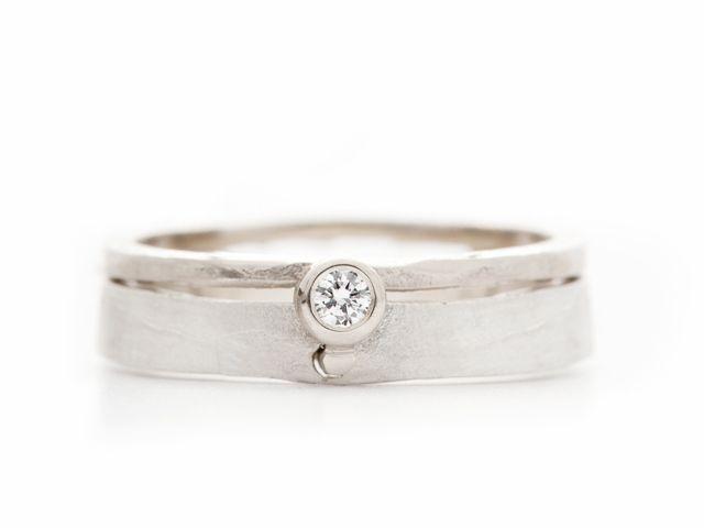 Ring Met Hamerslag Structuur En Diamant Online Kopen Wim