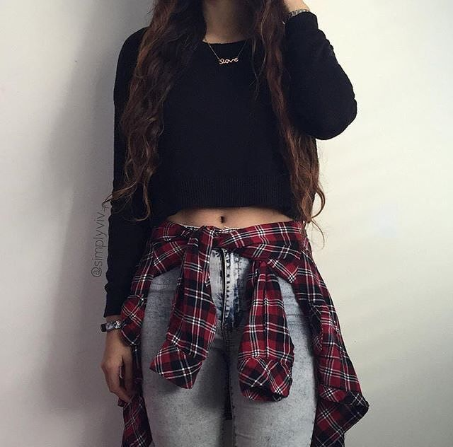 Cropped black sweater, plaid flannel wrapped around waist ...