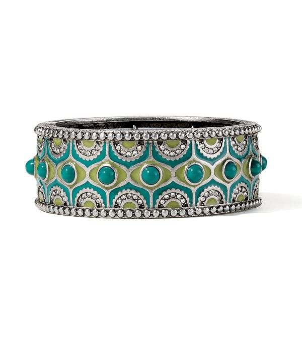 Sari Bracelet - Stretch Bracelet, Clear Cut Cystals with Teal Resin and Enamel in Antique Silver, $60 as a Hostess Bonus Item or $250 retail