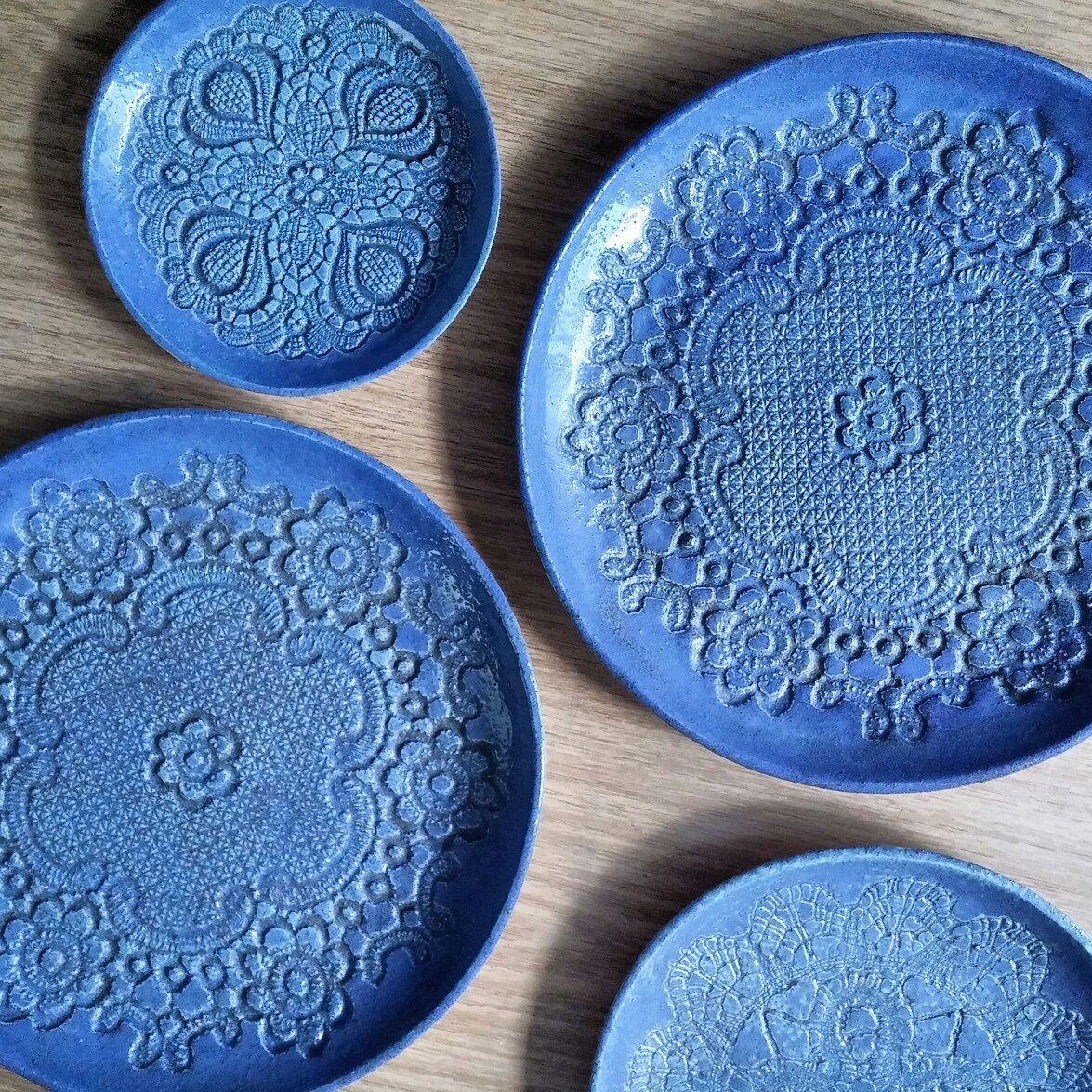 Dekorative Teller, blau Keramik Teller, Teller Set, Keramik Schalen ...
