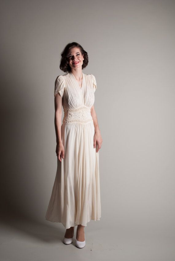 Vintage 1940s chiffon dress 40s wedding dress by for Vintage 1940s wedding dresses