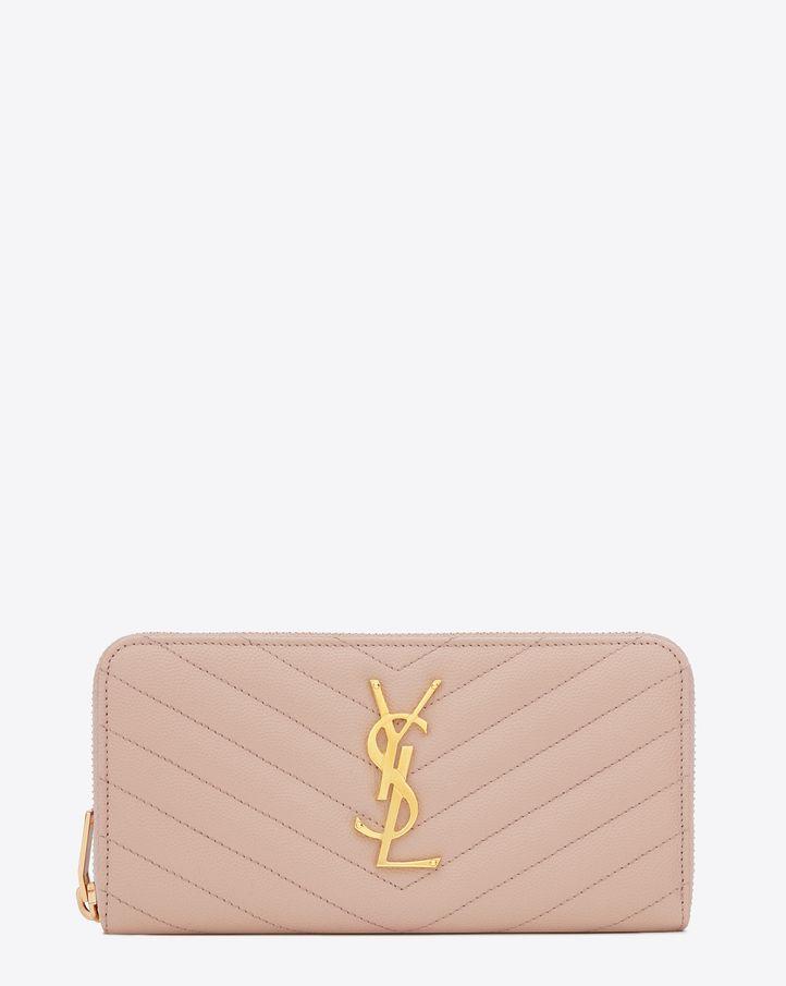 04c91d6faca saintlaurent, MONOGRAM SAINT LAURENT zip around wallet in pale pink grain  de poudre matelassé textured leather