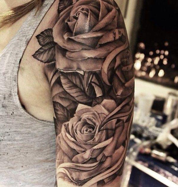 Flower-Tattoo-Designs-for-Women-142.jpg 600×631 pixels | Rose tattoos for men, Quarter sleeve ...