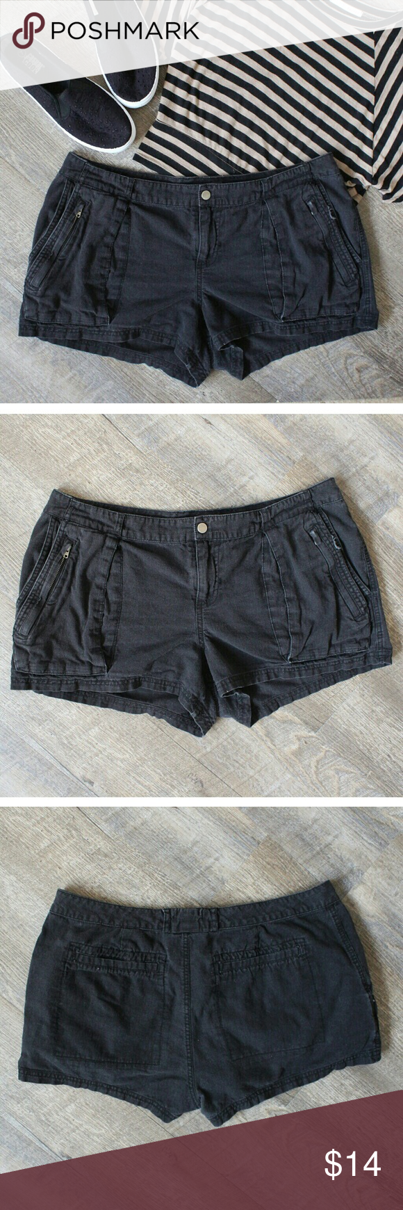 41e3f34928d24f Converse One Star Black Shorts Comfortable black shorts with pockets and  zippers. Great for this summer. In GUC has some fading and loose threading  on side ...