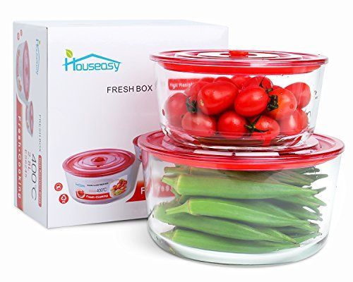 Glass Food Storage Containers With Locking Lids Houseasy 2 Piece Glass Meal Prep Food Storage Container Set Pyrex