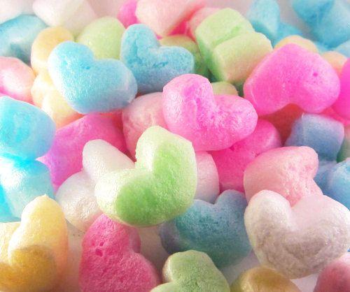 Rainbow Heart Shaped Shipping Peanuts // Colorful Heart